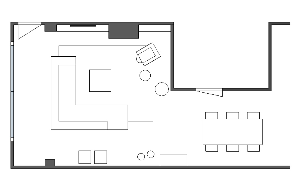 Tekening meubelopstelling interieuradvies Nijmegen