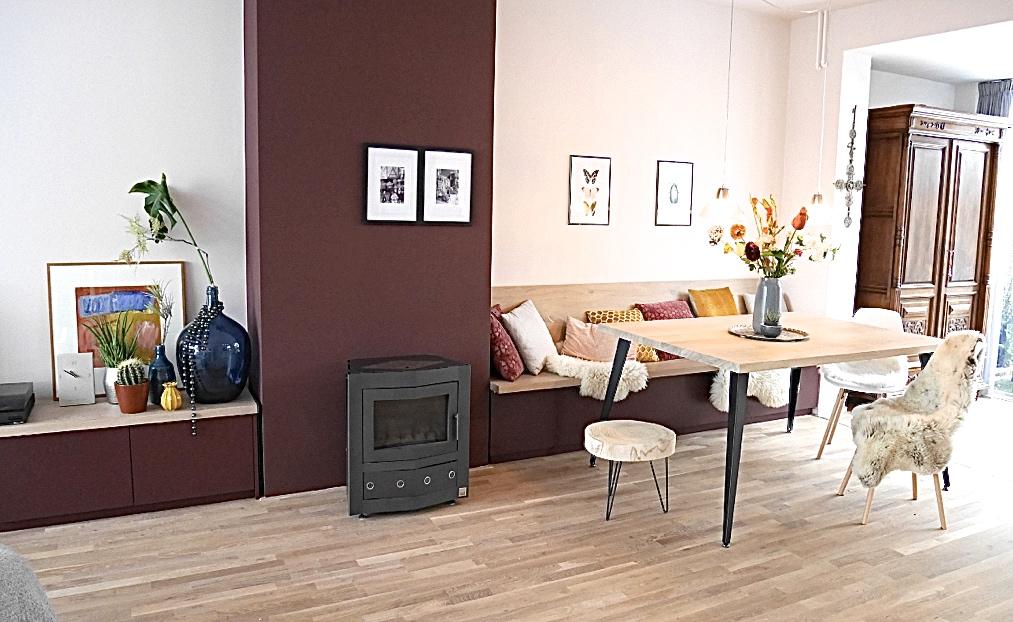 Binnenkijker- interieuradvies bij Henk & Anne in Nijmegen - eethoek met eettafelbank voor meer ruimte en sfeer