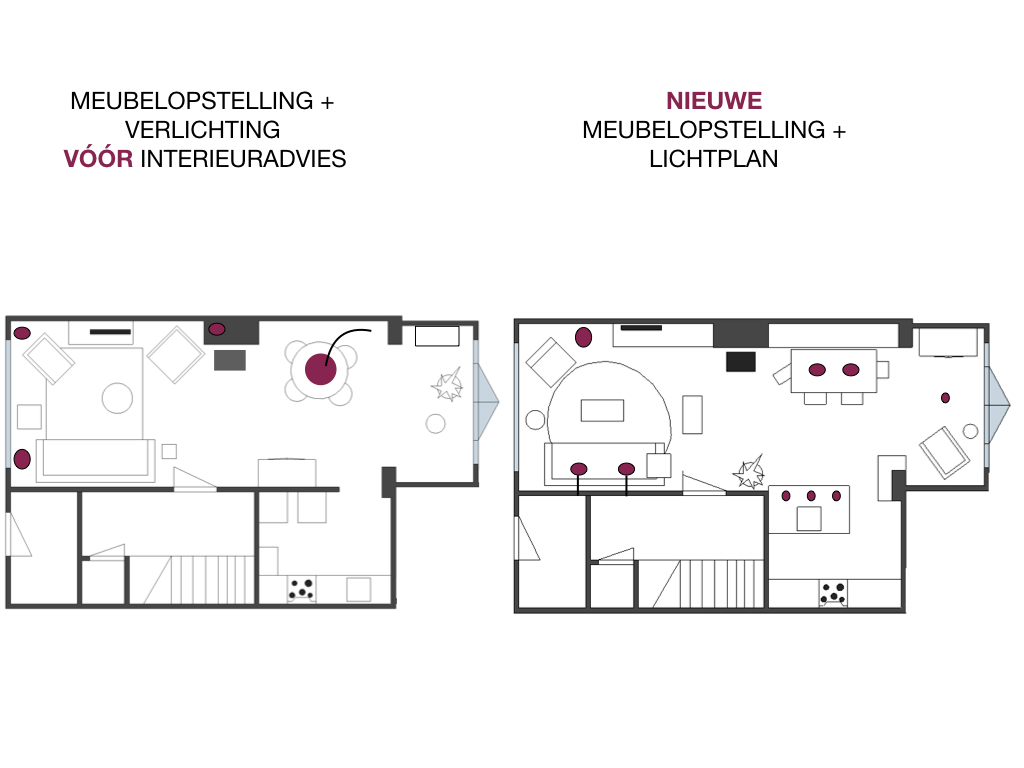 Binnenkijker- interieuradvies bij Henk & Anne in Nijmegen - tekening meubelopstelling