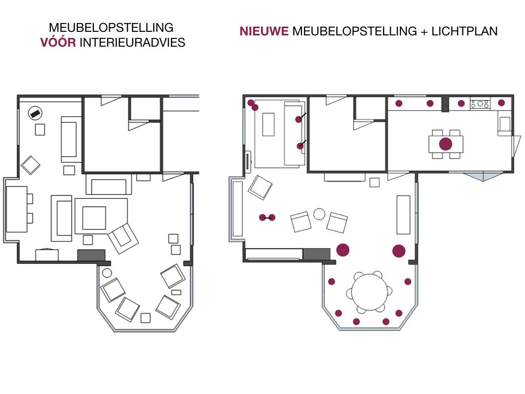 Nieuwe meubelopstelling - tekening interieur Elburg