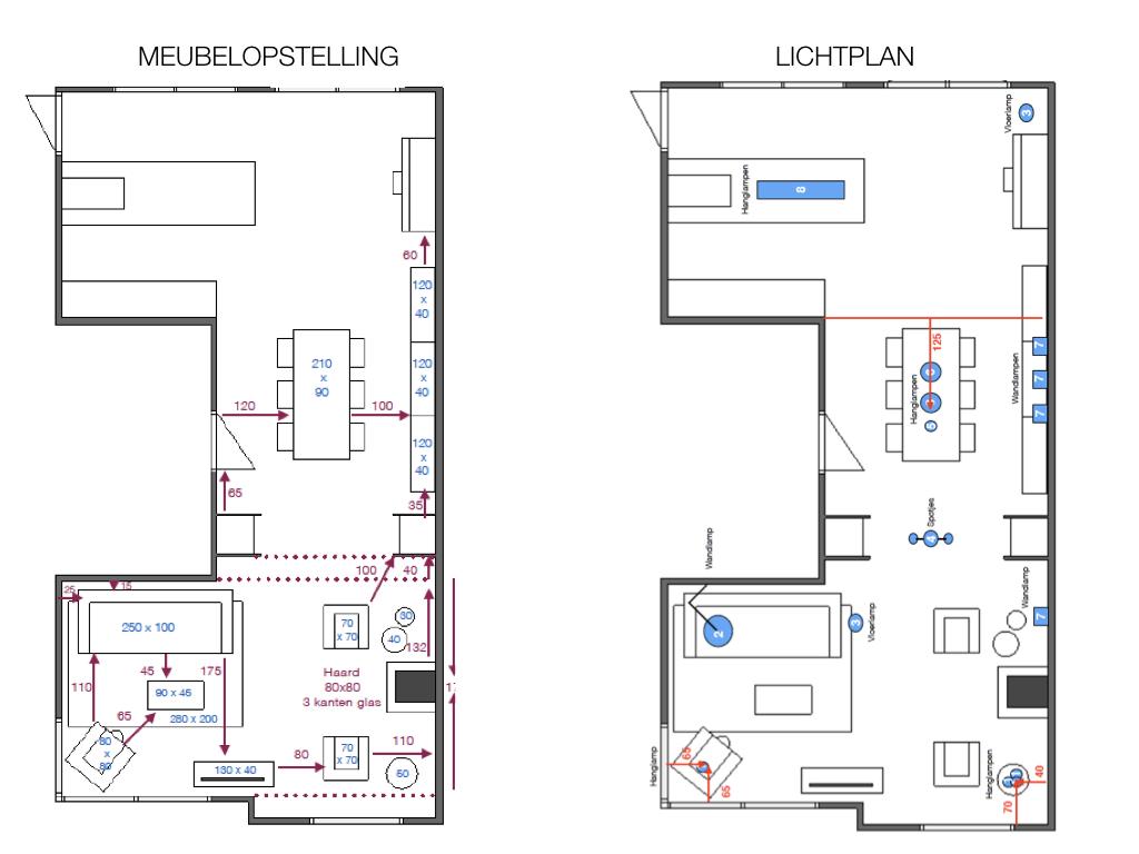 Tekening meubelopstelling + lichtplan interieurplan nieuwbouwhuis Roosendaal - Rutger & Roelien.
