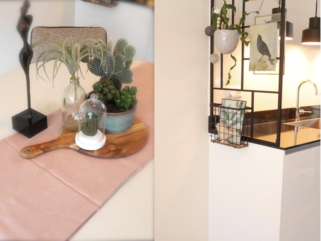 Decoratie op eettafel en afscheiding tussen keuken en woonkamer.